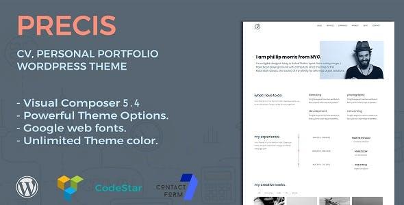 Precis   CV, Personal Portfolio WordPress Theme