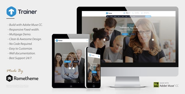 Trainer - Trainer, Mentor and Coach MUSE Template - Corporate Muse Templates