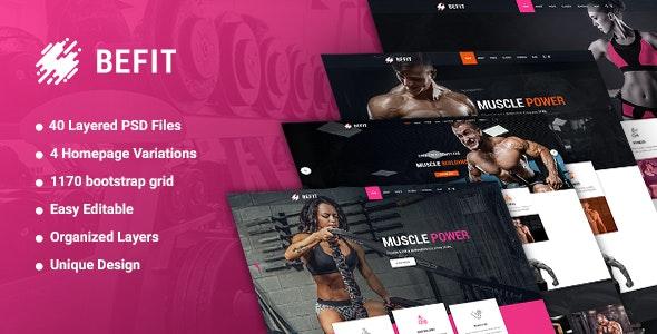 BeFit - Gym & Fitness PSD template - Photoshop UI Templates
