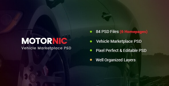 MotorNic - Vehicle Marketplace PSD Template - Business Corporate
