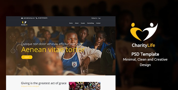 CharityLife  - NGO & Charity Fundraising PSD Template - Charity Nonprofit