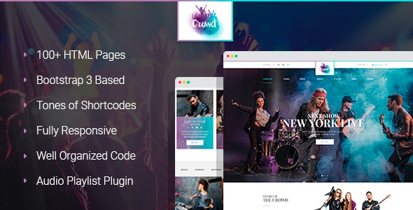 TheCrowd - Rock Band HTML Template with Page Builder - Entertainment Site Templates