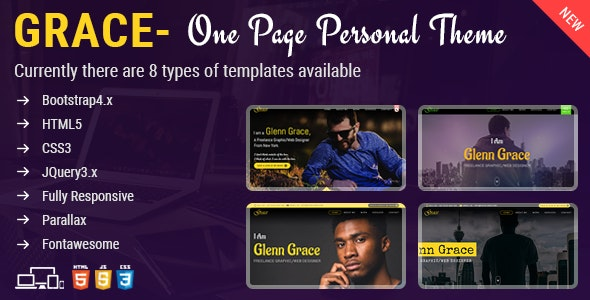 Grace - One Page Personal Theme - Personal Site Templates