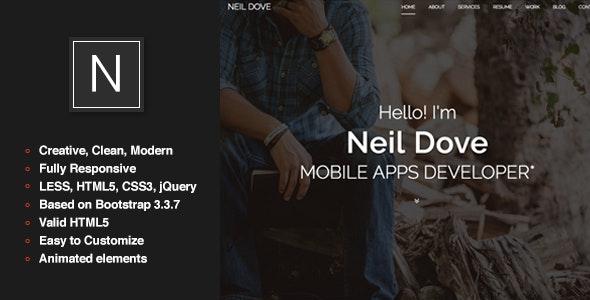 Neil Dove - Personal One Page Portfolio Template - Personal Site Templates