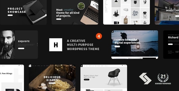 Heli - Minimal Creative Black and White WordPress Theme - Portfolio Creative