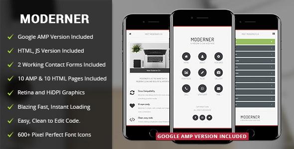 Moderner Mobile Template & Google AMP - Mobile Site Templates