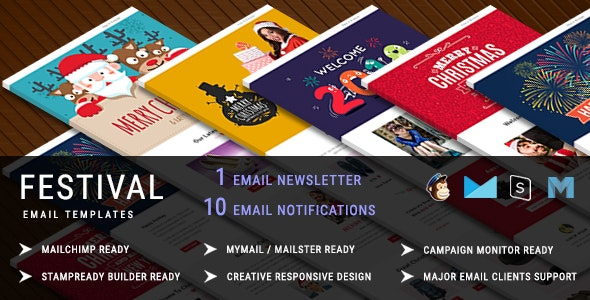 Festival - Christmas Responsive Email Template + 10 Notifications with Stampready Builder Access - Newsletters Email Templates