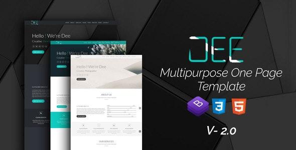 Dee Personal One Page multi color Portfolio Template - Creative Site Templates