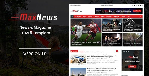 MaxNews | News & Magazine HTML Template - Retail Site Templates