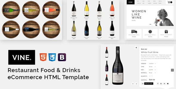 Vine – Restaurant Food & Drinks eCommerce HTML Template - Food Retail