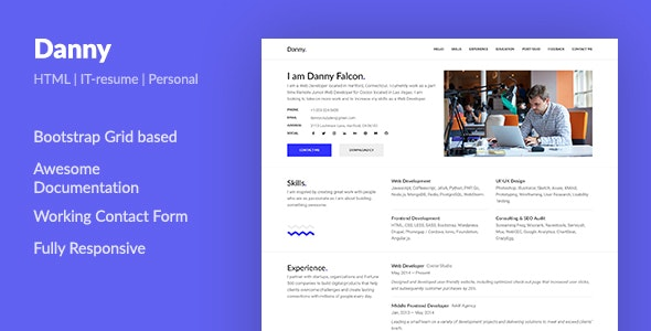 Danny Web Developer Resume Html Template By Aspirity