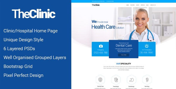 TheClinic - A Clinic PSD emplate - Health & Beauty Retail