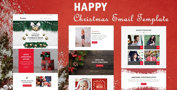 Happy - Responsive Christmas & New Year Email Templates with Stampready Builder Access - Newsletters Email Templates