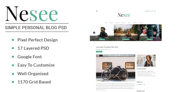 Nesee - Blog PSD Templates - Personal Photoshop