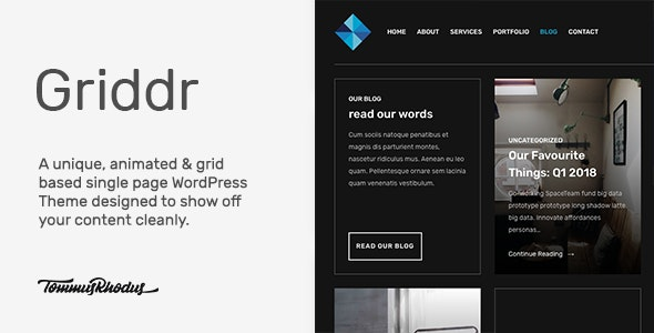 Griddr - Animated Grid Creative WordPress Theme - Experimental Creative