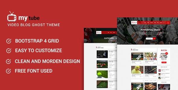 Mytube - Video Blog and Magazine Ghost Theme - Ghost Themes Blogging