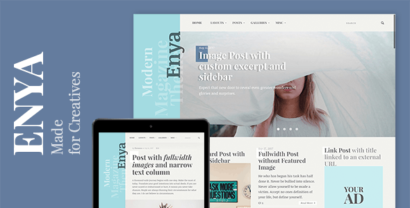 Enya - WordPress Theme for Creative Bloggers - Personal Blog / Magazine