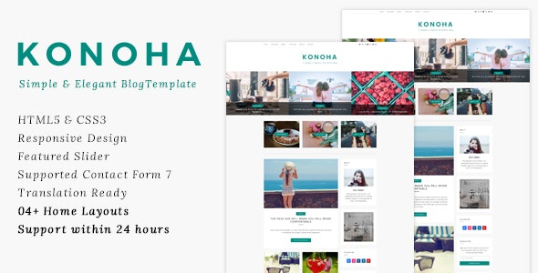 Konoha - Clean & Elegant Blog Template - Personal Site Templates