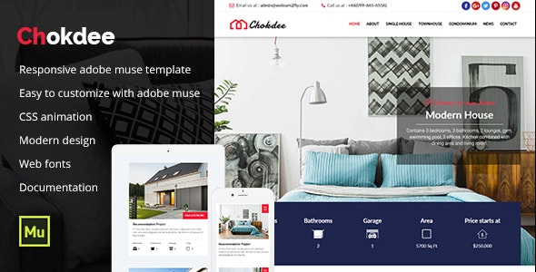 Chokdee - Responsive Real Estate Muse Template - Corporate Muse Templates