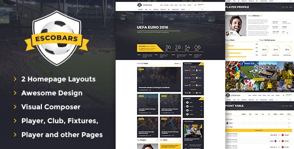 Escobars | Sport Team Clubs WordPress Theme - Entertainment WordPress