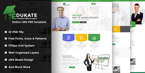 EDUKATE | Online LMS PSD Template - Corporate Photoshop