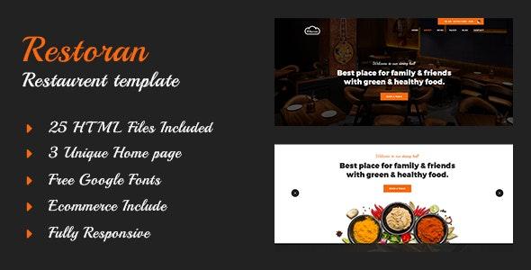 Restoran - Hotel and Restaurant  HTML5 Template - Restaurants & Cafes Entertainment