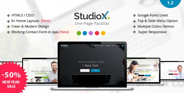 StudioX - One Page Parallax - Creative Site Templates