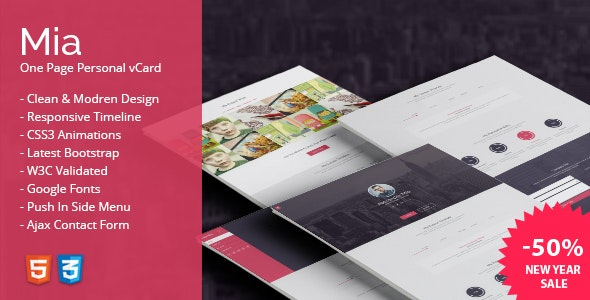 Mia - One Page Personal vCard - Virtual Business Card Personal