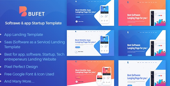 Bufet - App, Saas and Software Landing Page - Technology Photoshop