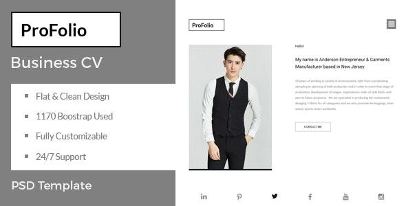 ProFolio - Business CV PSD Template - Portfolio Creative
