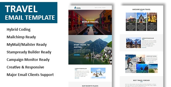 Travel - Multipurpose Responsive Email Template with Online StampReady & Mailchimp Builders - Newsletters Email Templates