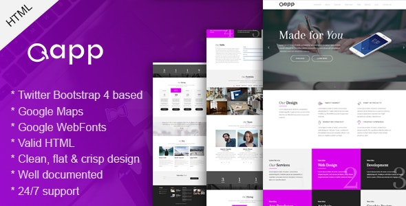 Qapp - OnePage HTML Template - Portfolio Creative