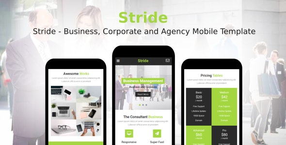 Stride - Business, Corporate and Agency Mobile Template - Mobile Site Templates