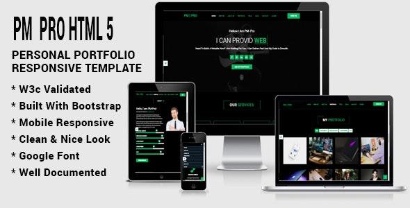 PM  PRO HTML5 Personal Responsive Template - Portfolio Creative