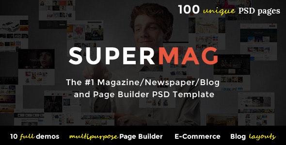 SuperMag - Magazine/Newspaper/Blog & Builder PSD Template - Corporate Photoshop
