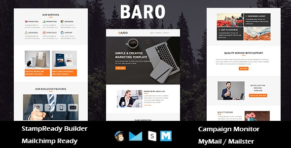 Baro - Multipurpose Responsive Email Template With Online StampReady Builder Access - Newsletters Email Templates