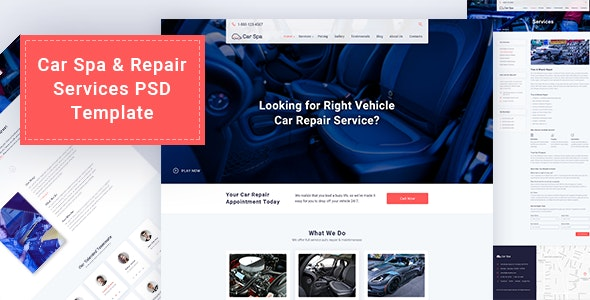 Car Spa & Repair Services PSD Template - Business Corporate