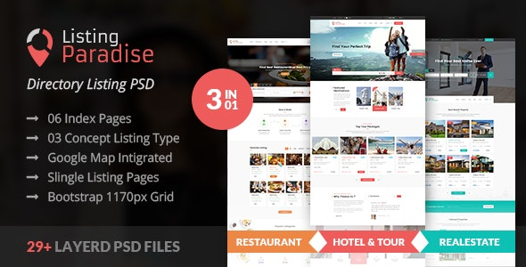 Listing Paradise Directory PSD Template - Corporate Photoshop