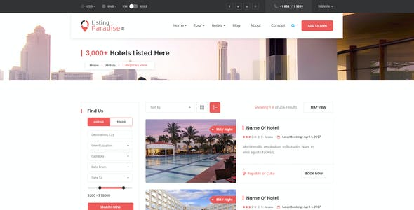 Listing Paradise Directory PSD Template