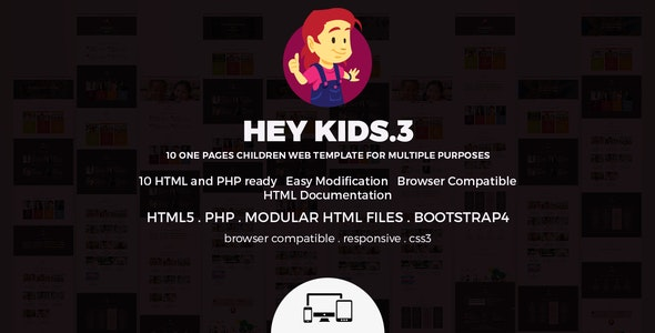 Hey Kids Responsive Multipurpose Singlepage Web Template - Children Retail