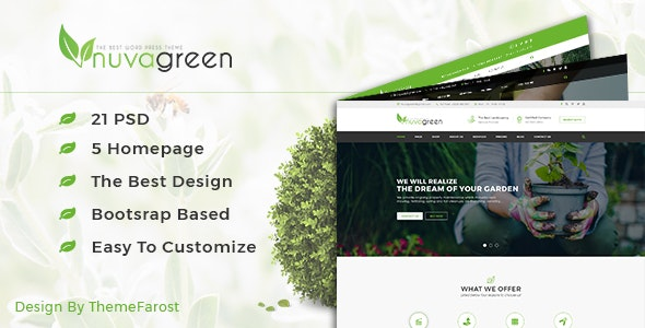 NuvaGreen - Landscape & Gardening PSD Template - Business Corporate