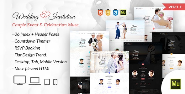 Wedding Invitation - Couple Event & Celebration Muse Template - Muse Templates