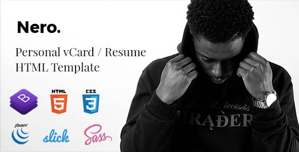 Nero - Personal vCard / Resume Template - Personal Site Templates
