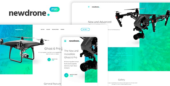 Newdrone - Sale Page, Landing or Concepts PSD Templates - Technology Photoshop