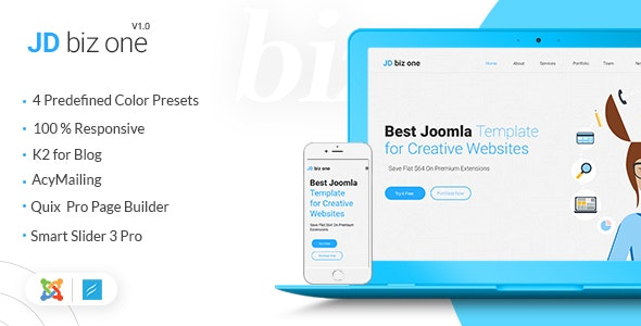 JD BizOne - Creative Multipurpose One Page Joomla Template - Creative Joomla