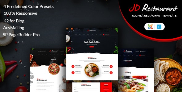JD Restaurant - Responsive Joomla 3.9 Template - Restaurants & Cafes Entertainment