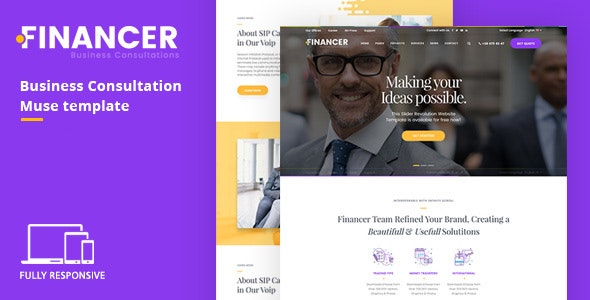 Financer | Business Consultations Responsive Muse Template - Corporate Muse Templates