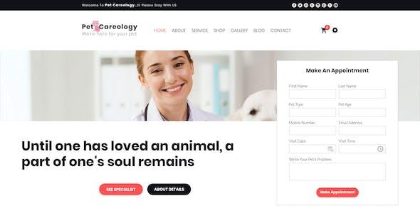 Pet Careology. Pet Care & Shop PSD Template