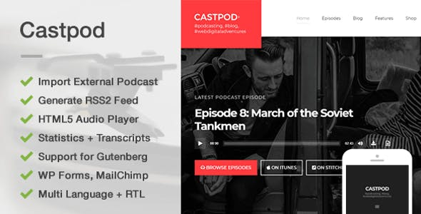 Castpod - A Professional WordPress Theme for Audio Podcasts