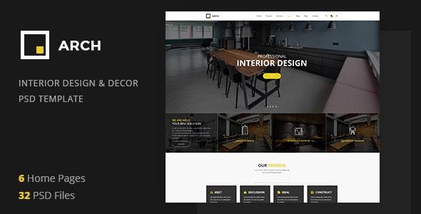 Arch - Interior Design and Decor PSD Template - Portfolio Creative
